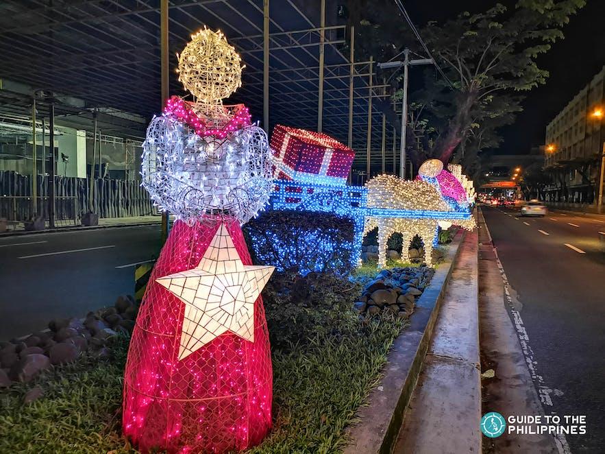 Street Christmas lights along Makati