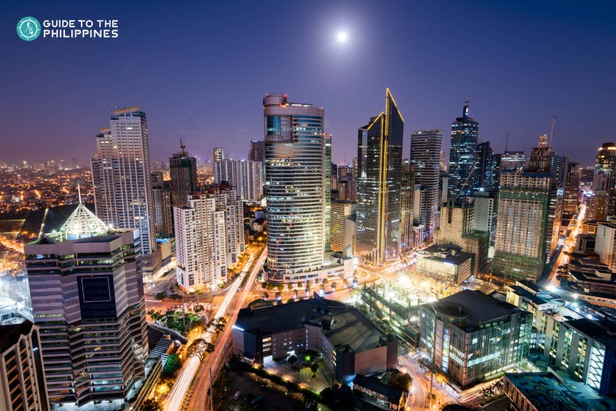 Aerial cityscape of Makati Central Business District at night