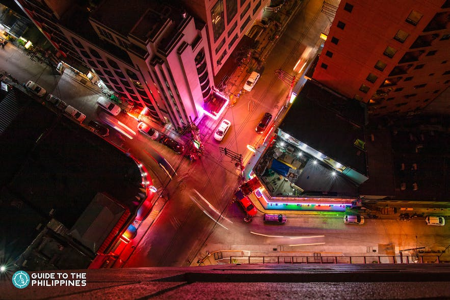 Top view of nightlife lights in Poblacion, Makati