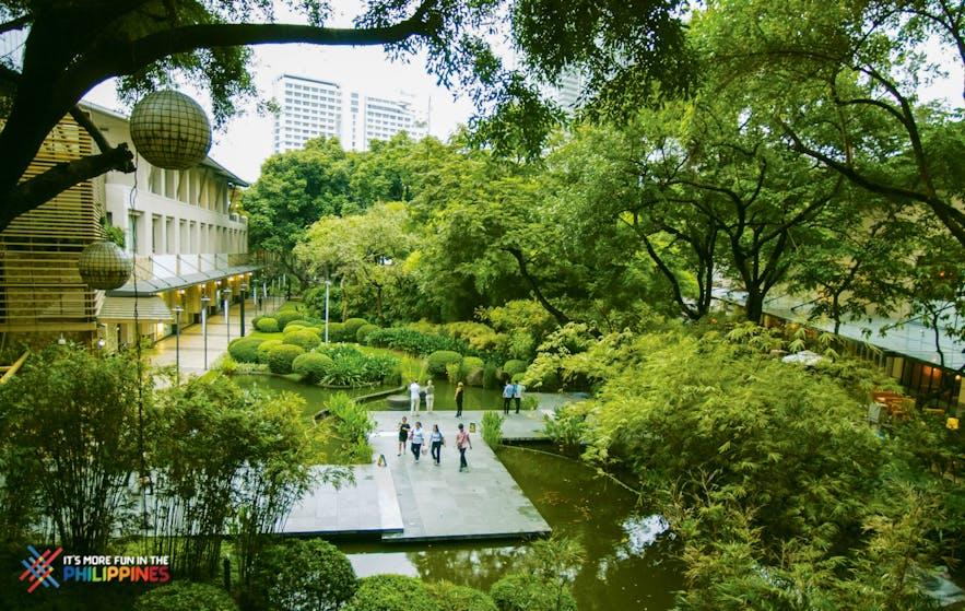 Lush greens at Greenbelt 1 Park in Makati