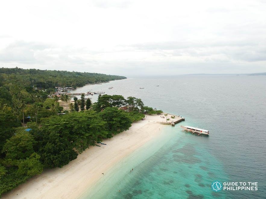 Aerial shot of Isla Reta Beach in Talicud Island