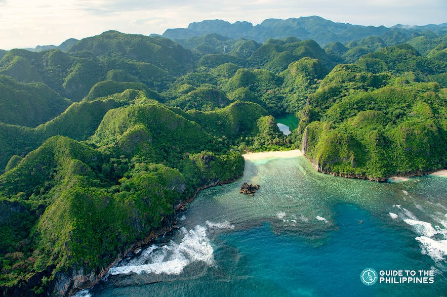 Beautiful blend of Caramoan Island's lush greens and blue waters