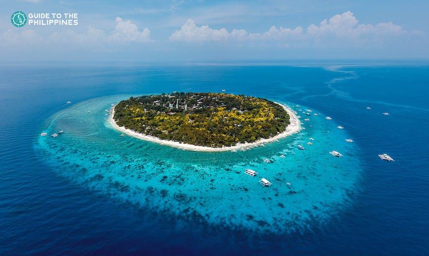 Aerial shot of Balicasag Island in Bohol