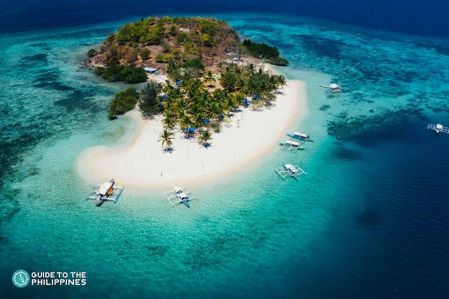 Stunning top view of Pass Island in Coron, Palawan