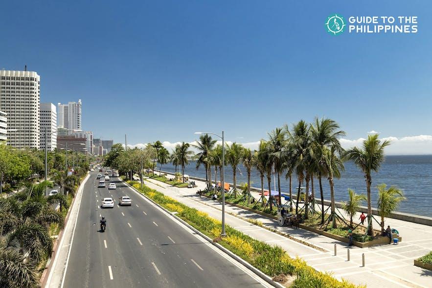 Aerial shot of Roxas Boulevard and Manila Bay