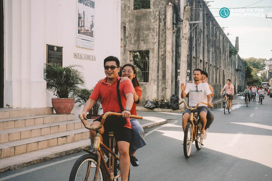 A group of friends around Intramuros in bamboo bikes