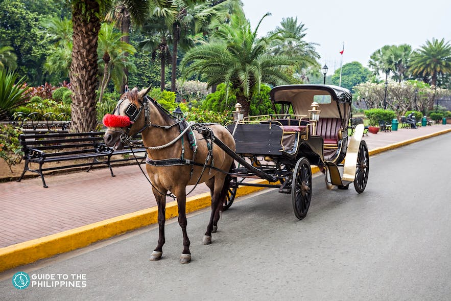A parked kalesa or horse-drawn carriage in Manila, Philippines
