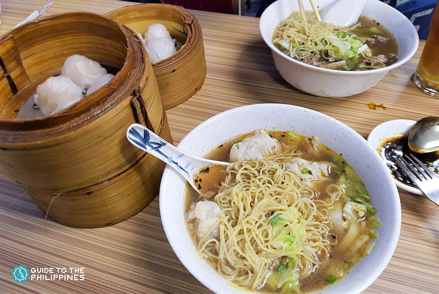 Noodles and dumplings in Binonbo, Manila