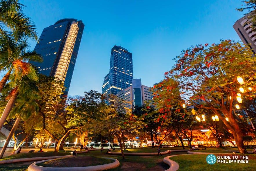 Night view at Ayala Triangle Gardens in Makati