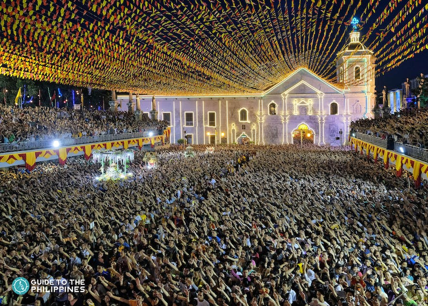 Aerial view of the crowd during the Sinulog Festival in Cebu City, Philippines