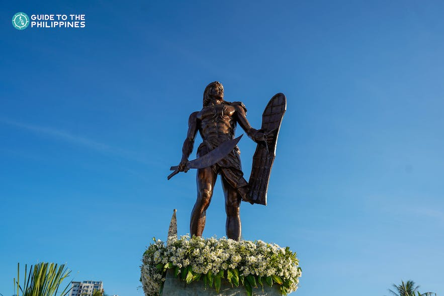 Lapu-Lapu's bronze statue at Mactan Shrine in Cebu, Philippines