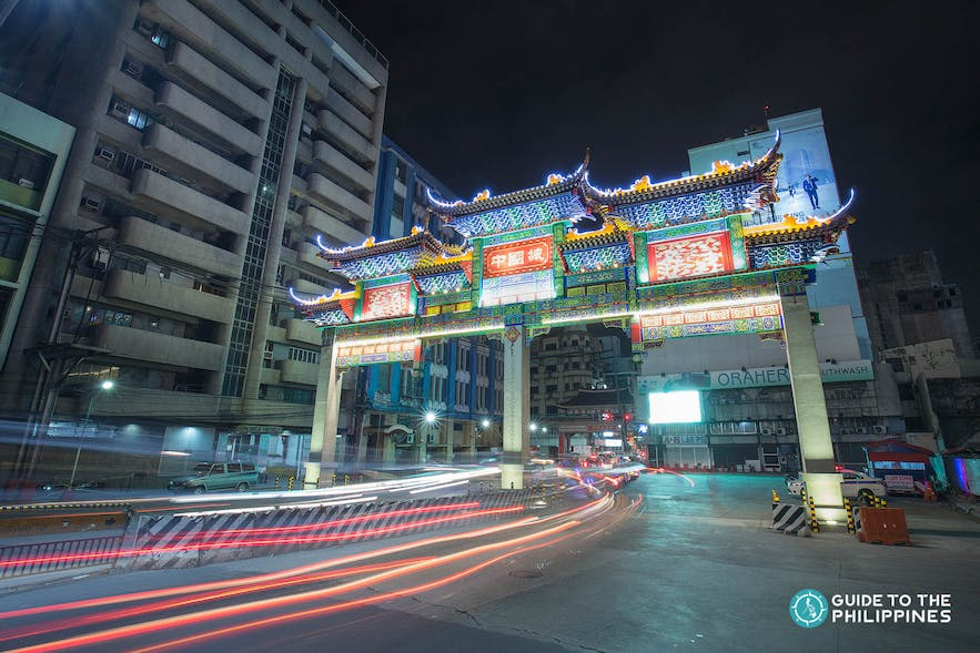 New Binondo Chinatown Arch at night in Manila