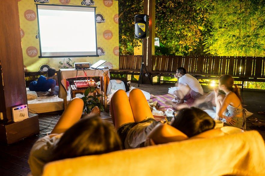 Movie night at SPIN Designer Hostel in El Nido, Palawan