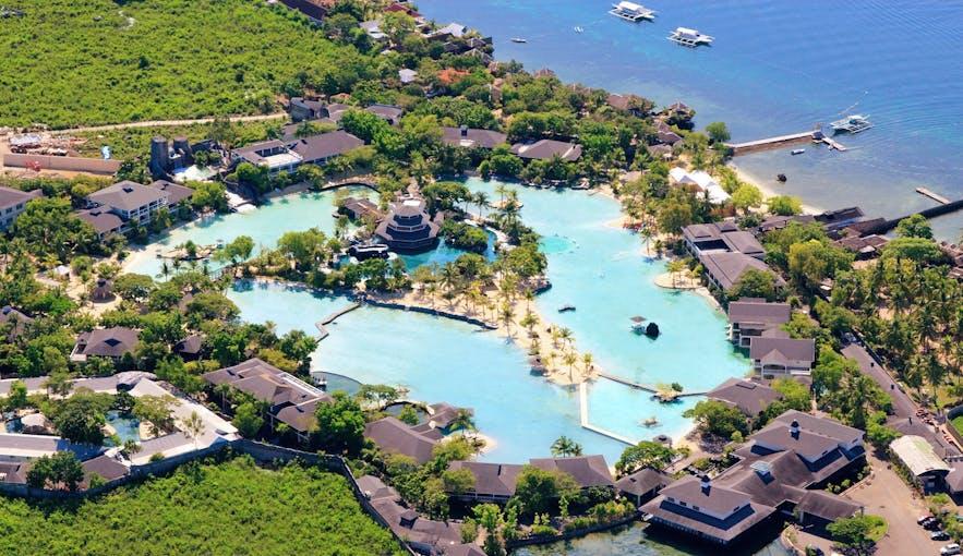 Aerial view of Plantation Bay Resort in Cebu, Philippines