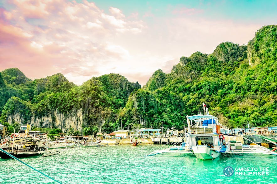 Before sunset view of Buena Suerte blue lagoon in El Nido, Palawan