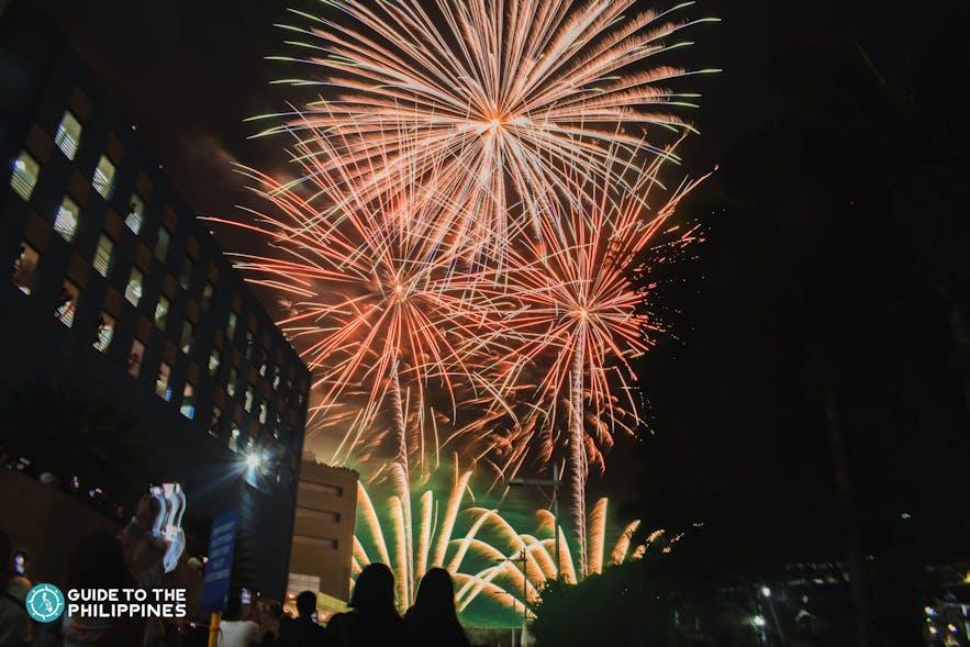 Fireworks display for Sinulog Festival in Cebu, Philippines