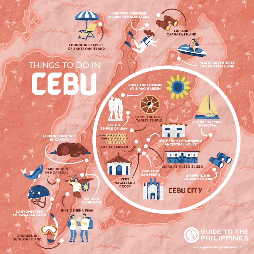 Guide to the Philippines' map of things to do in Cebu Philippines