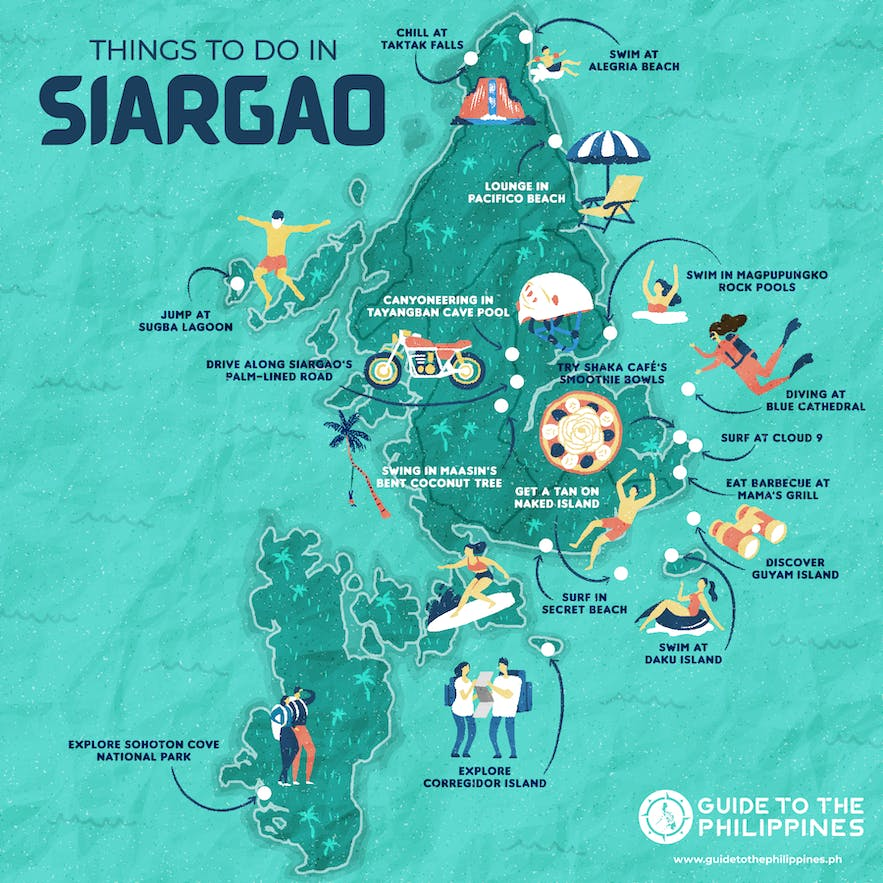 Guide to the Philippines' map of things to do in Siargao Island