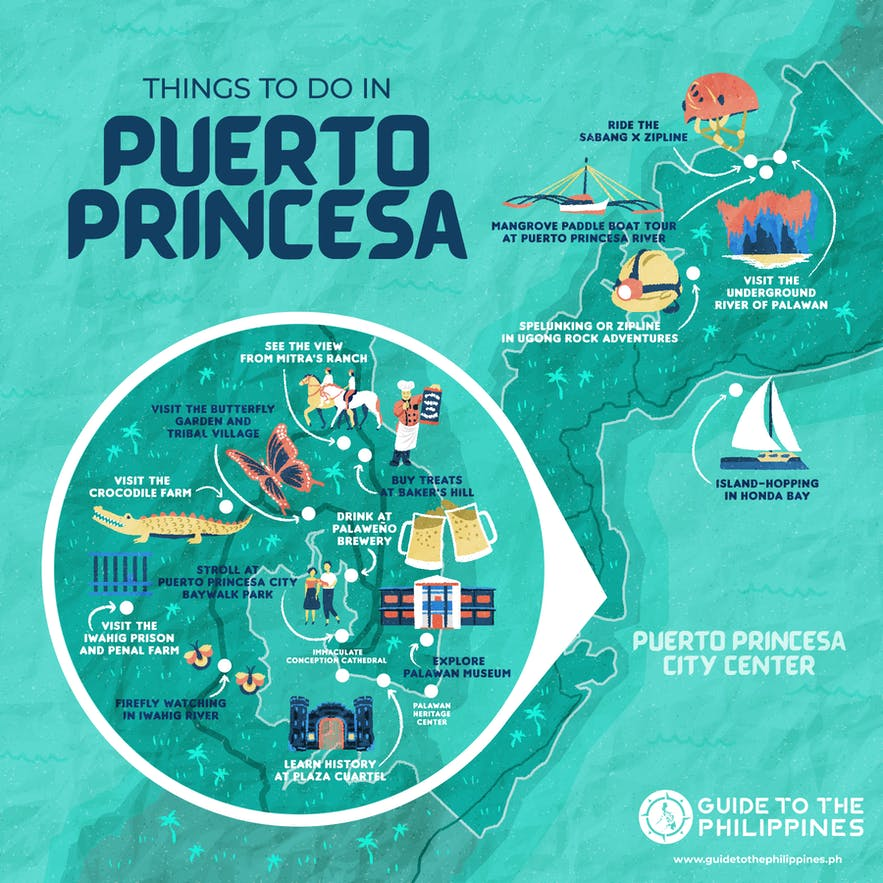 Guide to the Philippines' map of things to do in Puerto Princesa