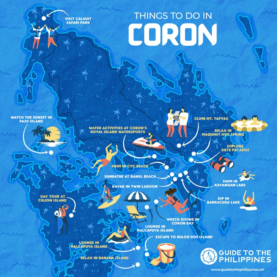 Guide to the Philippines' map of things to do in Coron, Palawan