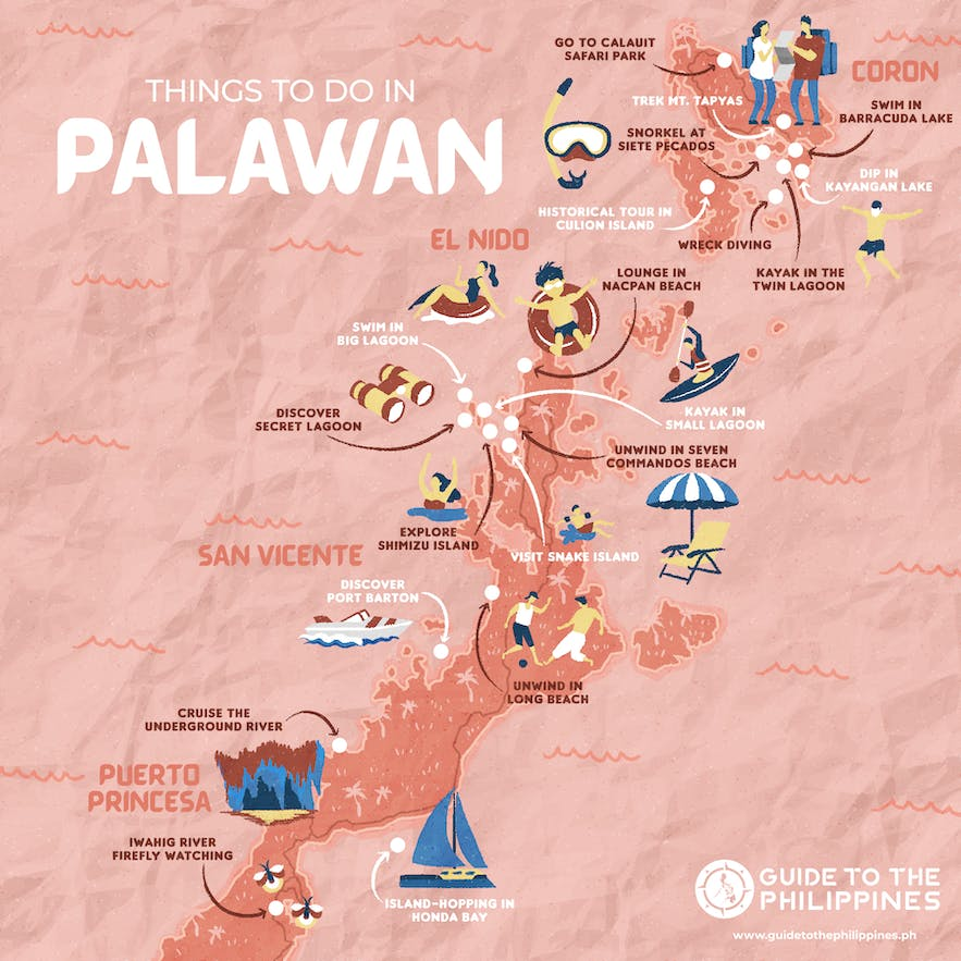 Guide to the Philippines' map of things to do and tourist spots in Palawan