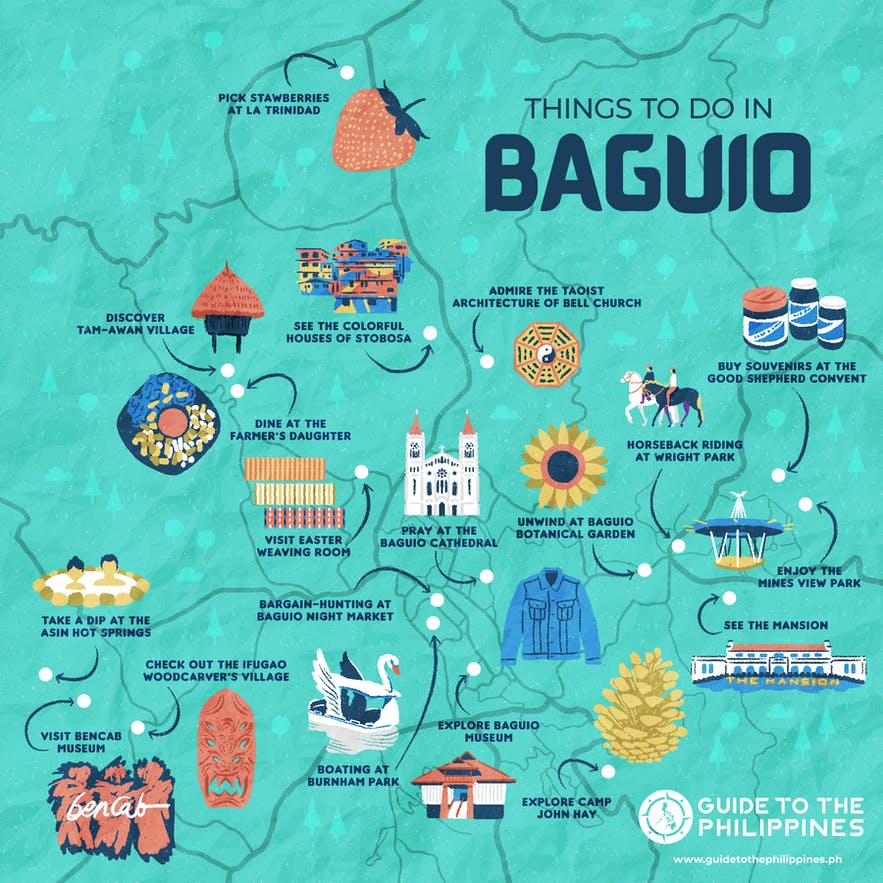 Guide to the Philippines map of tourist spots in Baguio and where to go