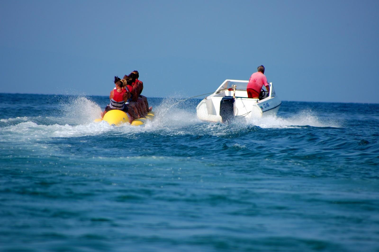 People enjoying the banana boat ride in Bohol