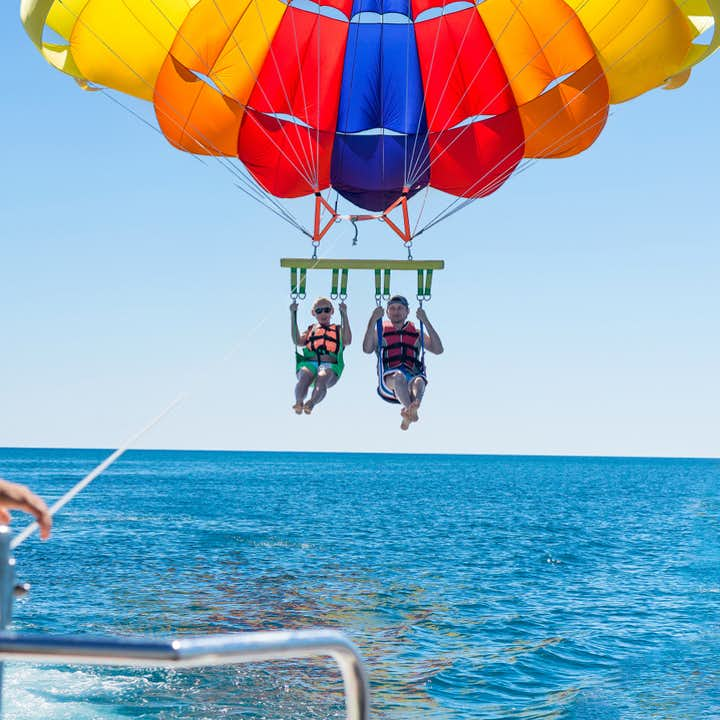 Two people parasailing in Panglao Bohol