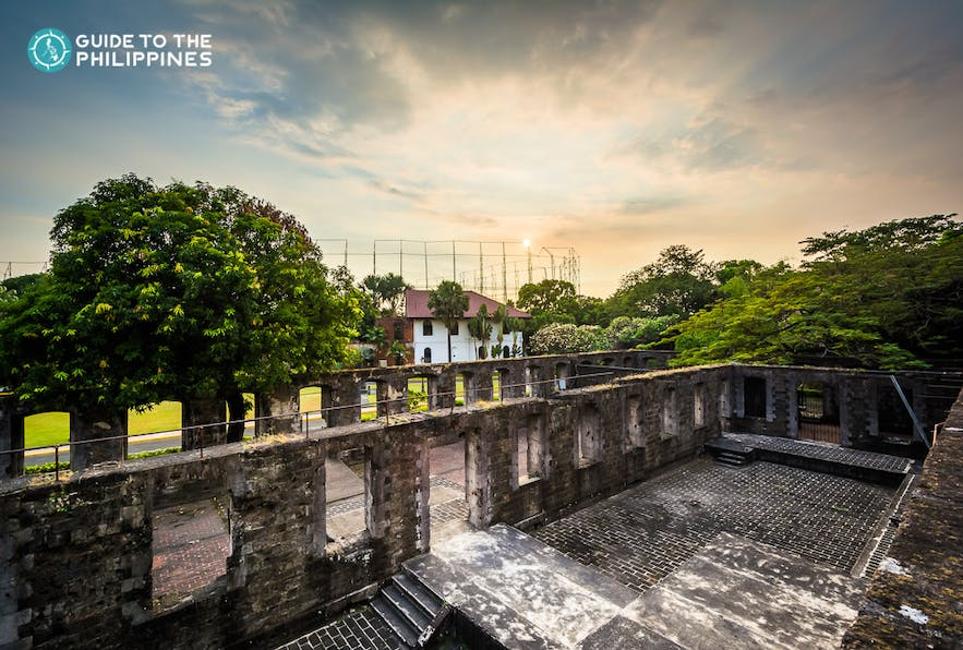 Sunset at the ruins of the Fort Santiago in Intramuros, Manila