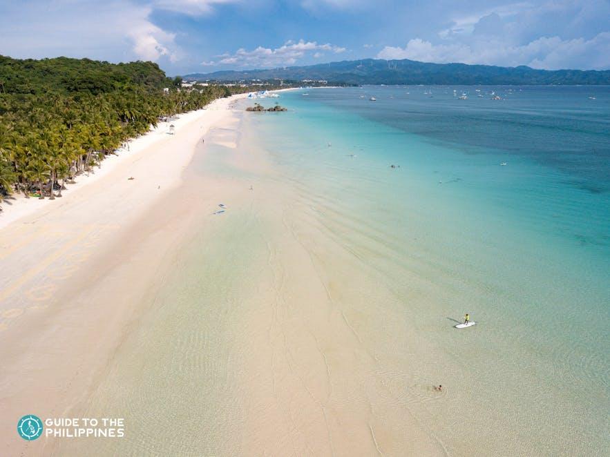 Uncrowded White Beach in Boracay, Aklan