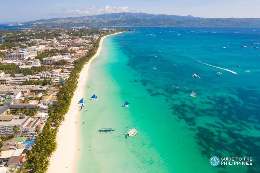 Aerial view of White Beach in Boracay, Aklan