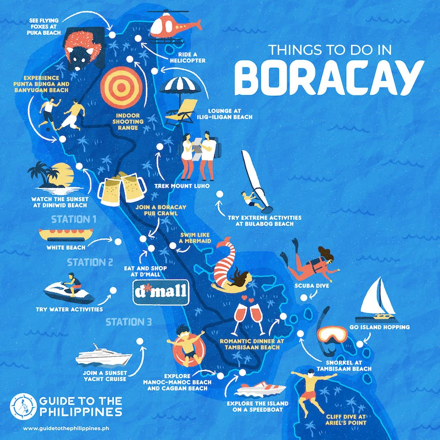 Boracay map of things to do by Guide to the Philippines