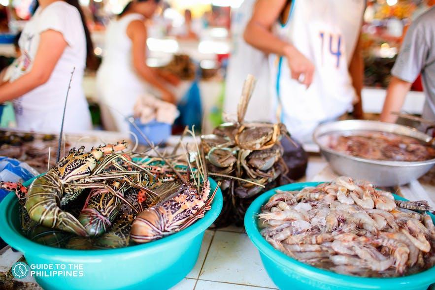 Fresh seafood from D'Talipapa in Boracay, Aklan