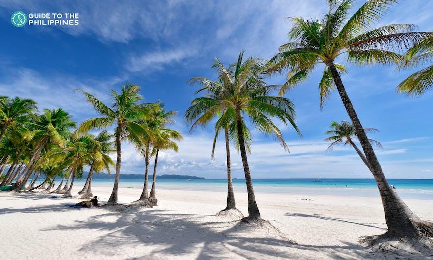 Stretch of white-sand beach in Boracay, Aklan