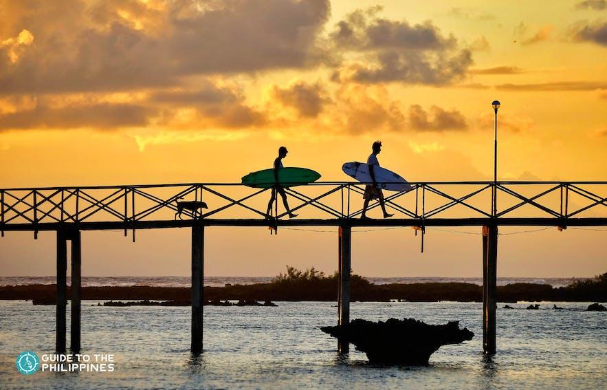 Surfers at Cloud 9 in Siargao, Surigao del Norte