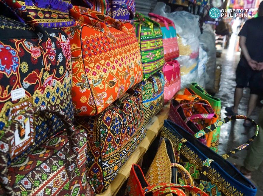 Batik-designed bags at Canelar Barter Trade Center in Zamboanga