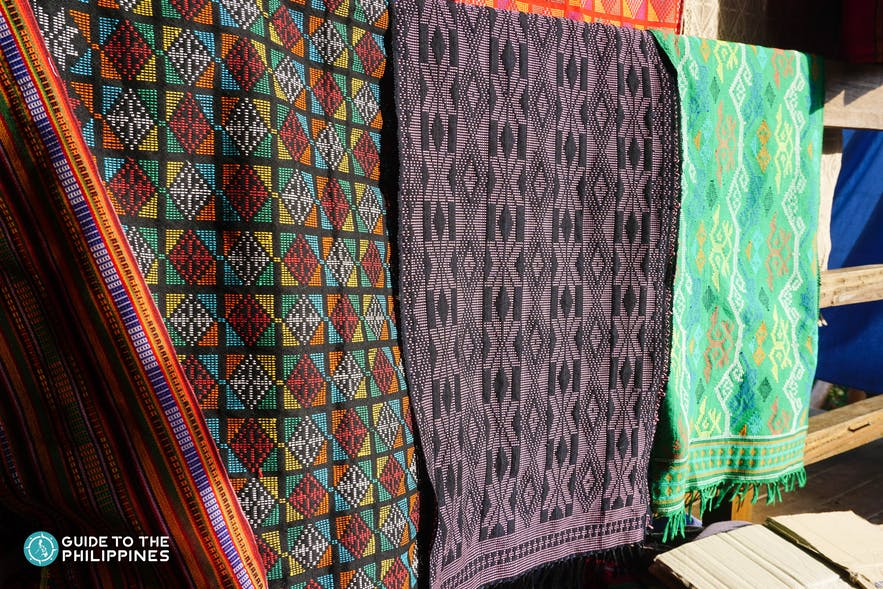 Colorful table runners as souvenirs at Yakan Weaving Village in Zamboanga