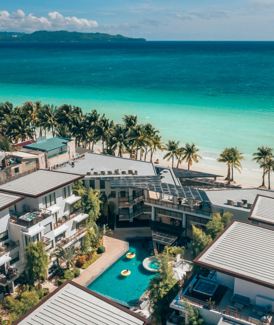 Beachfront view from the Discovery Shores Boracay in Aklan, Philippines