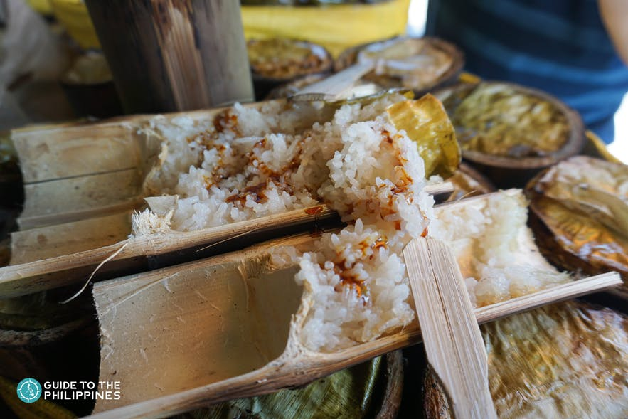 Binungey is a sticky rice delicacy soaked in coconut milk and slow-steamed in a bamboo shell