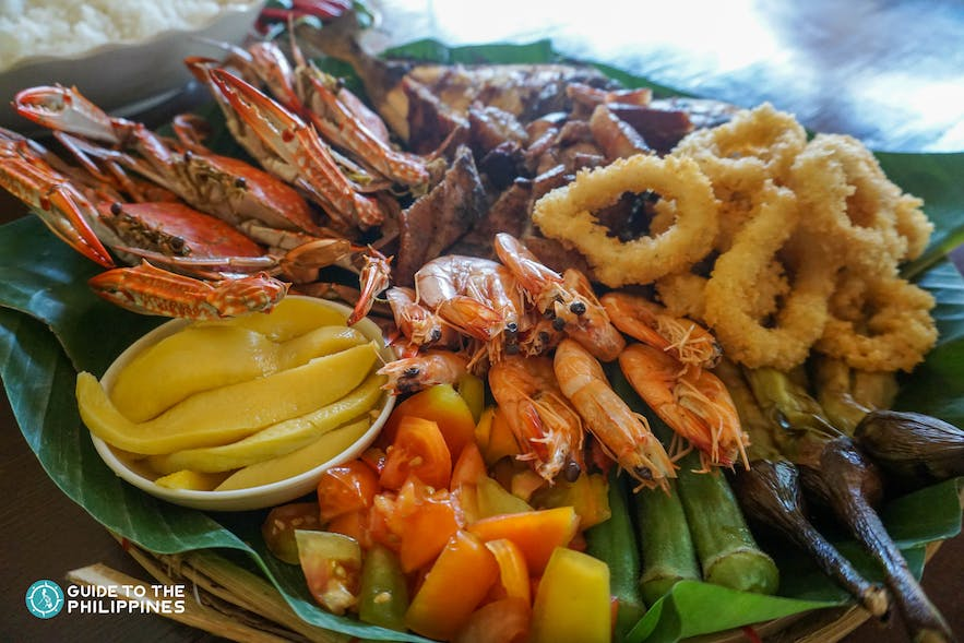 Seafood platter in a local restaurant in Pangasinan