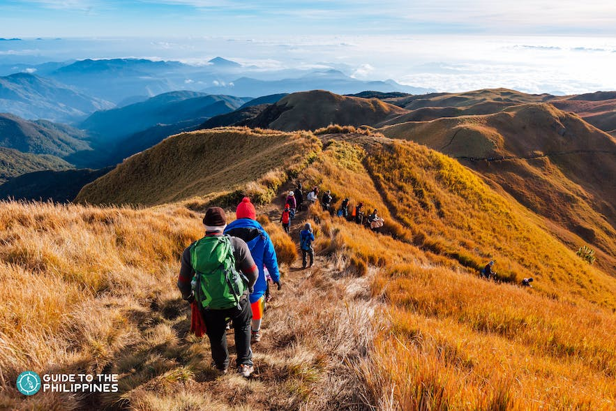 Hikers at Mt. Pulag trail in Benguet, Philippines