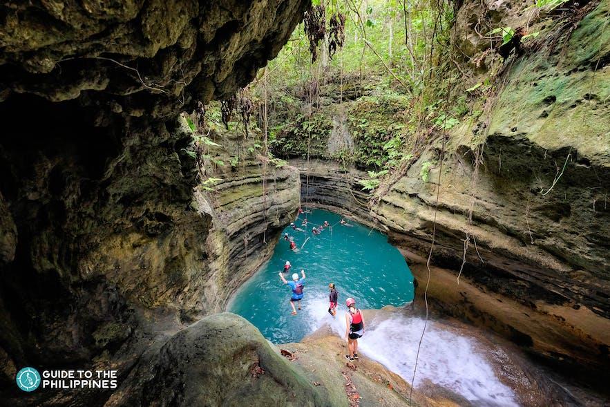 Canyoneering adventure at Kawasan Falls in Cebu, Philippines