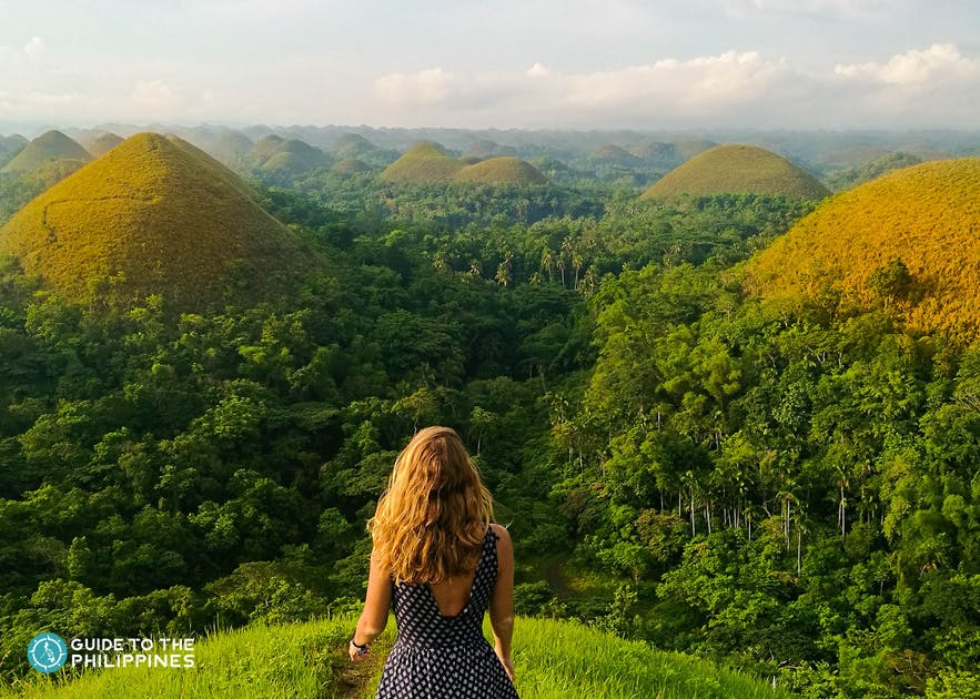 Traveler's view of the famous Chocolate Hills in Bohol, Philippines