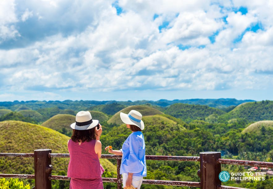Travelers on a guided Chocolate Hills tour in Bohol, Philippines
