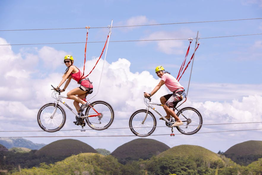 The Rush Bike Zipline at Chocolate Hills Adventure Park (CHAP) in Bohol, Philippines
