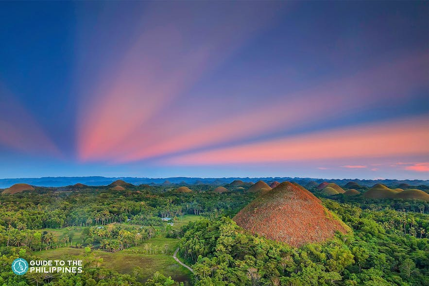 Chocolate Hills in Bohol, Philippines at dusk