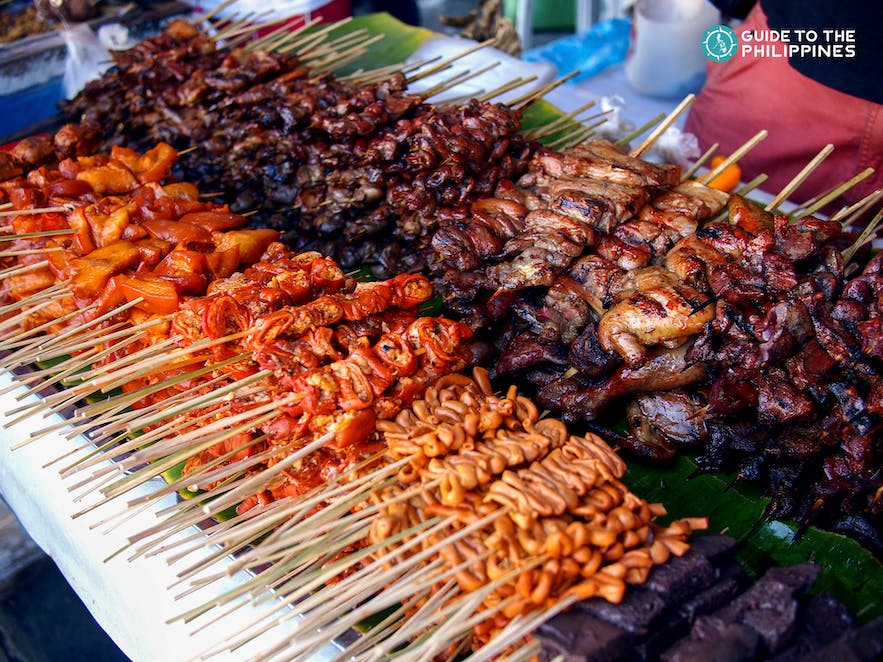 Isaw and Offal are popular Philippine street food made of grilled chicken or pork internal organs