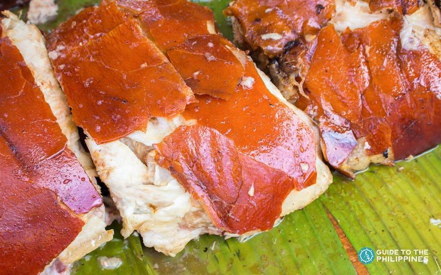 Crispy lechon skin in the Philippines