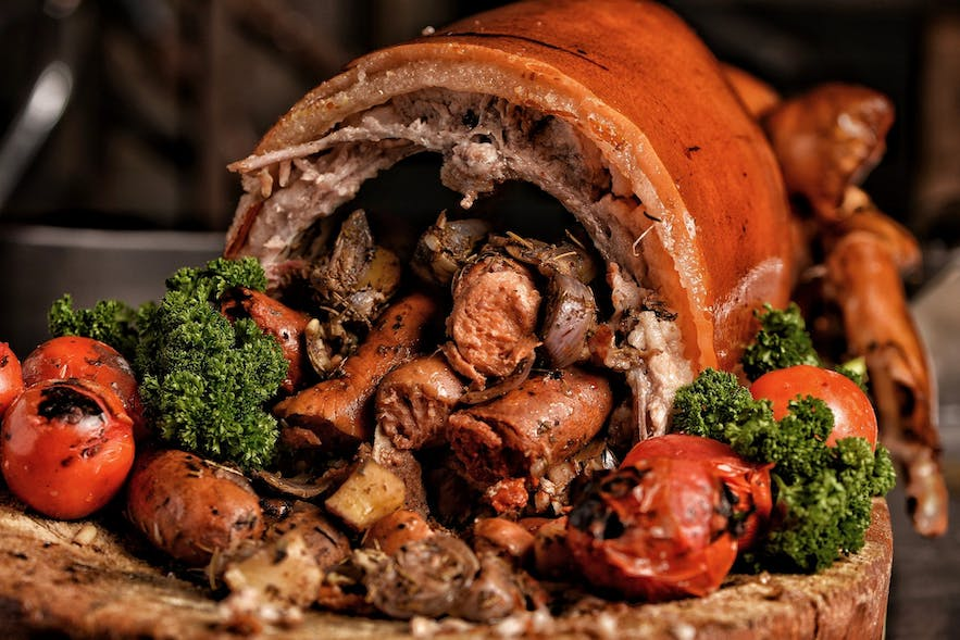 Leonardo's Lechon is stuffed with 3 types of sausages