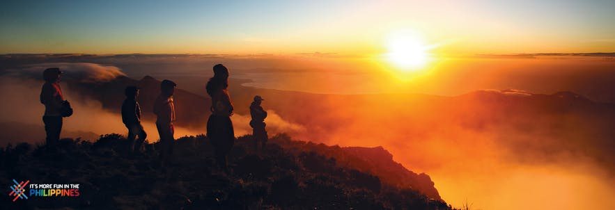 Hikers' sunrise view at Mount Apo in Davao, Philippines
